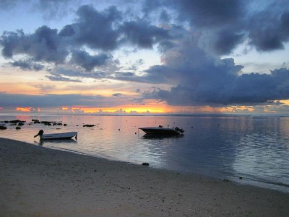 Sunset on a beach in Mauritius, February 2013