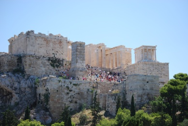 Parthenon view from Areopagus 8or the Court of justice Rock)